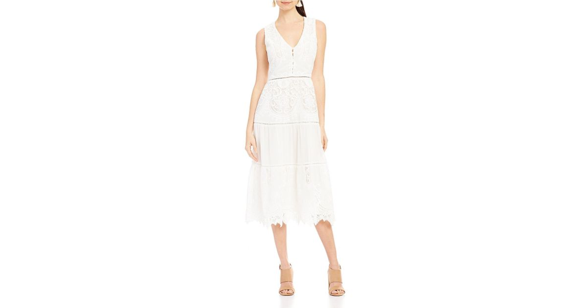 923c4804 Lyst - Lucy Paris Madeline Scalloped Lace Midi Dress in White