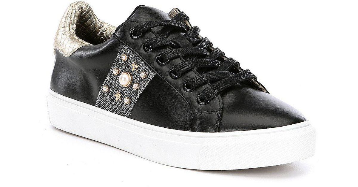 5b5454c9aab8b Steve Madden Black Steven By Cory Star And Pearl Sneakers