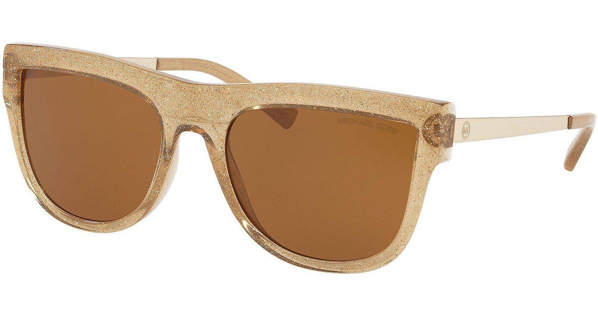 71c2dce32c5 Lyst - Michael Kors St. Kitts Square Glitter Frame Gradient Lens Sunglasses  in Metallic