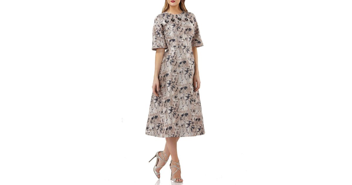 6c0e4df53712e Kay Unger Jacquard Floral Print Fit And Flare Midi Dress - Lyst
