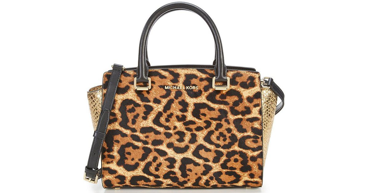 a04428d892f7 ... clearance lyst michael michael kors selma leopard print haircalf  metallic snake print medium satchel 1115d 218cd