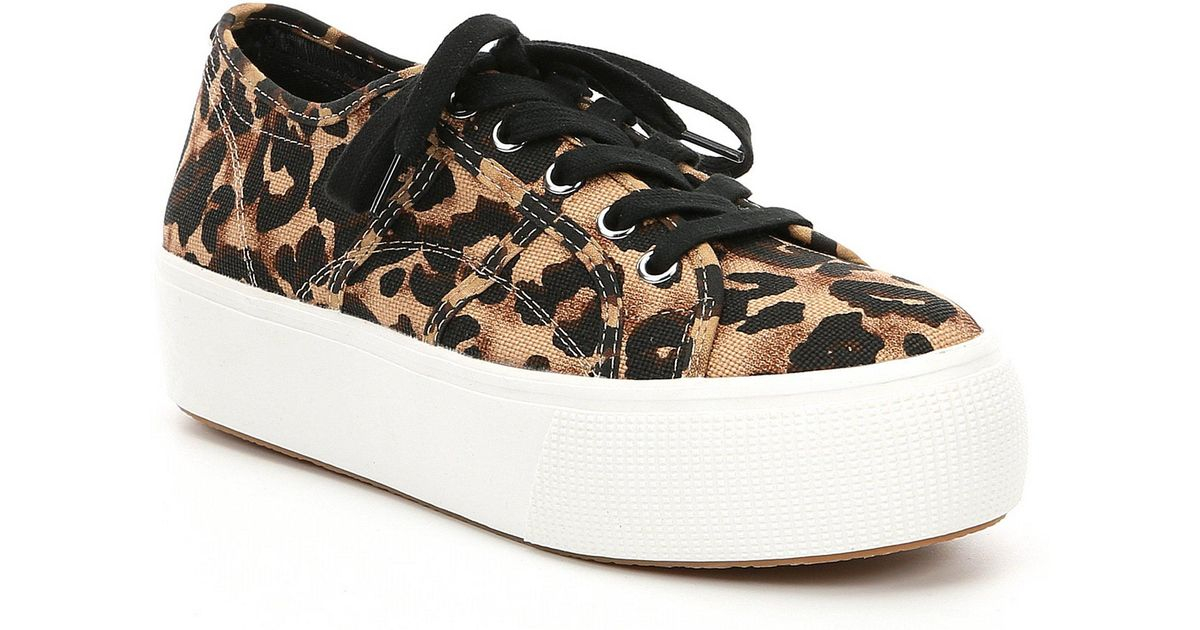 fdc8d27be996 Lyst - Steve Madden Emmi Leopard Canvas Platform Sneakers in Brown - Save  45%