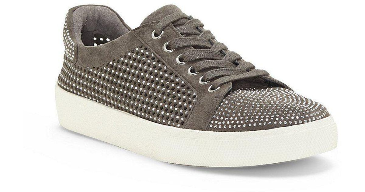 Vince Camuto Chenta Nubuck Leather Jeweled Perforated Embellishment Sneakers E5CDGN7BR