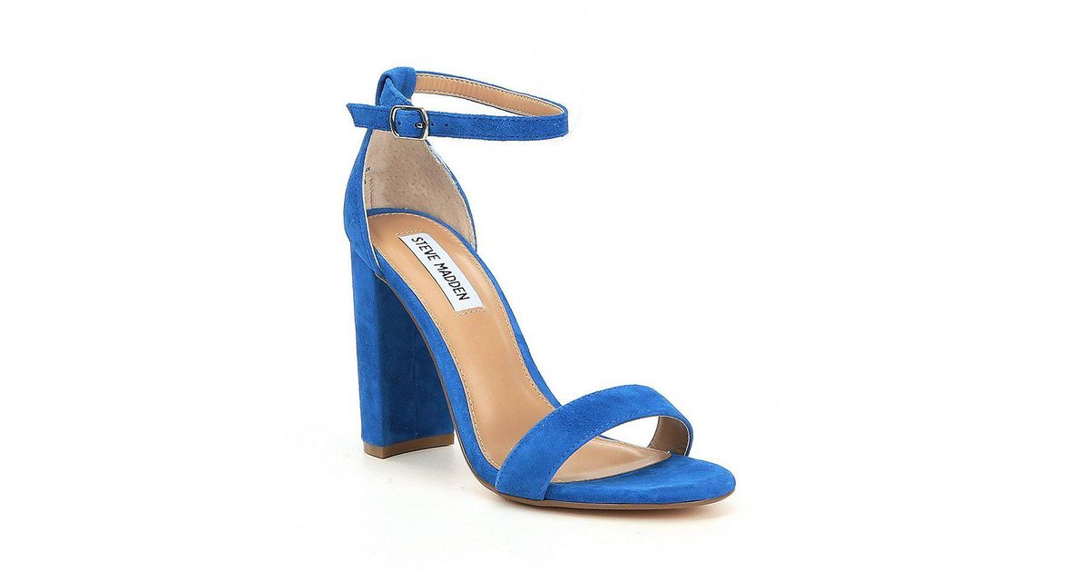 5e8ccce28da Steve Madden Blue Carrson Suede Ankle Strap Block Heel Dress Sandals