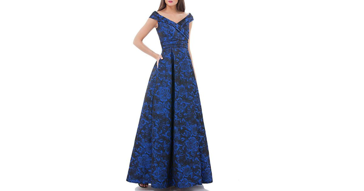 a9c87c1ac700 Carmen Marc Valvo Infusion Off-the-shoulder Jacquard Ball Gown in Blue -  Lyst