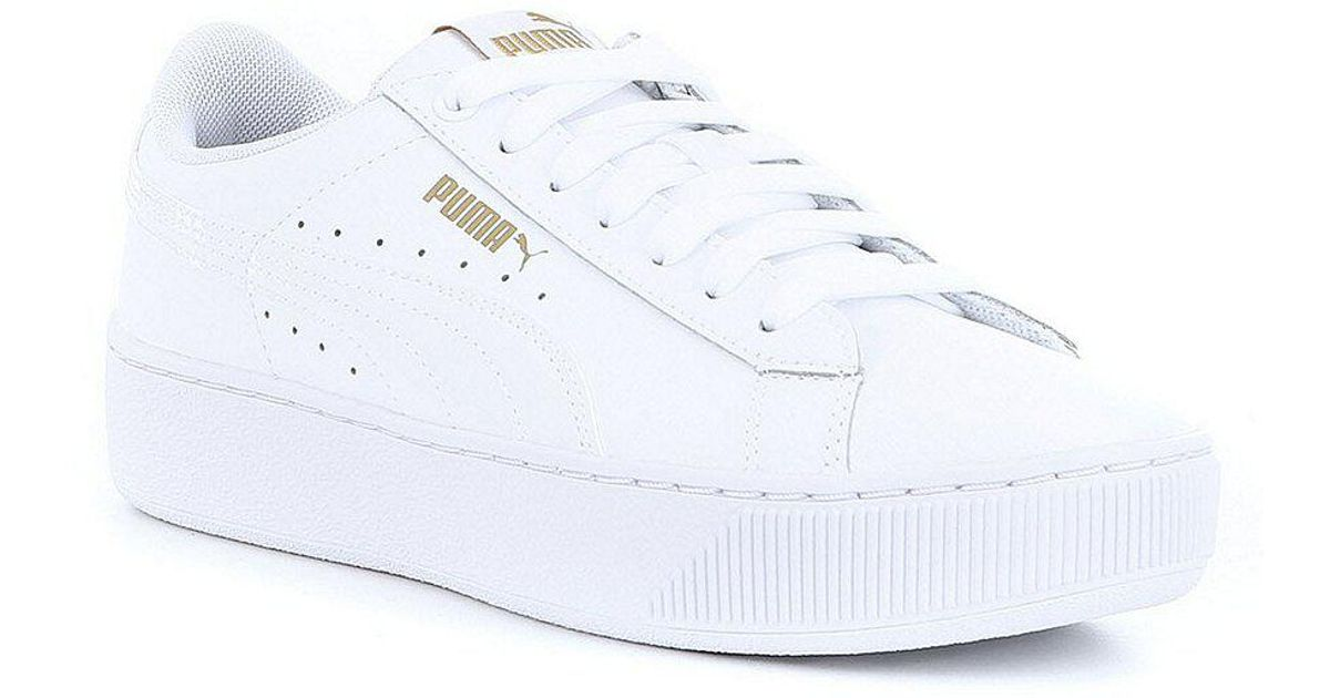 12de6556 PUMA White Vikky Platform Leather P