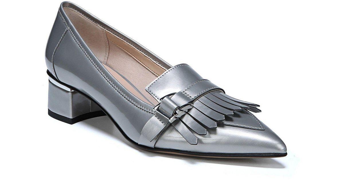 9b697665030 Lyst - Franco Sarto Grenoble Keltie Patent Leather Block Heel Penny Loafers  in Gray