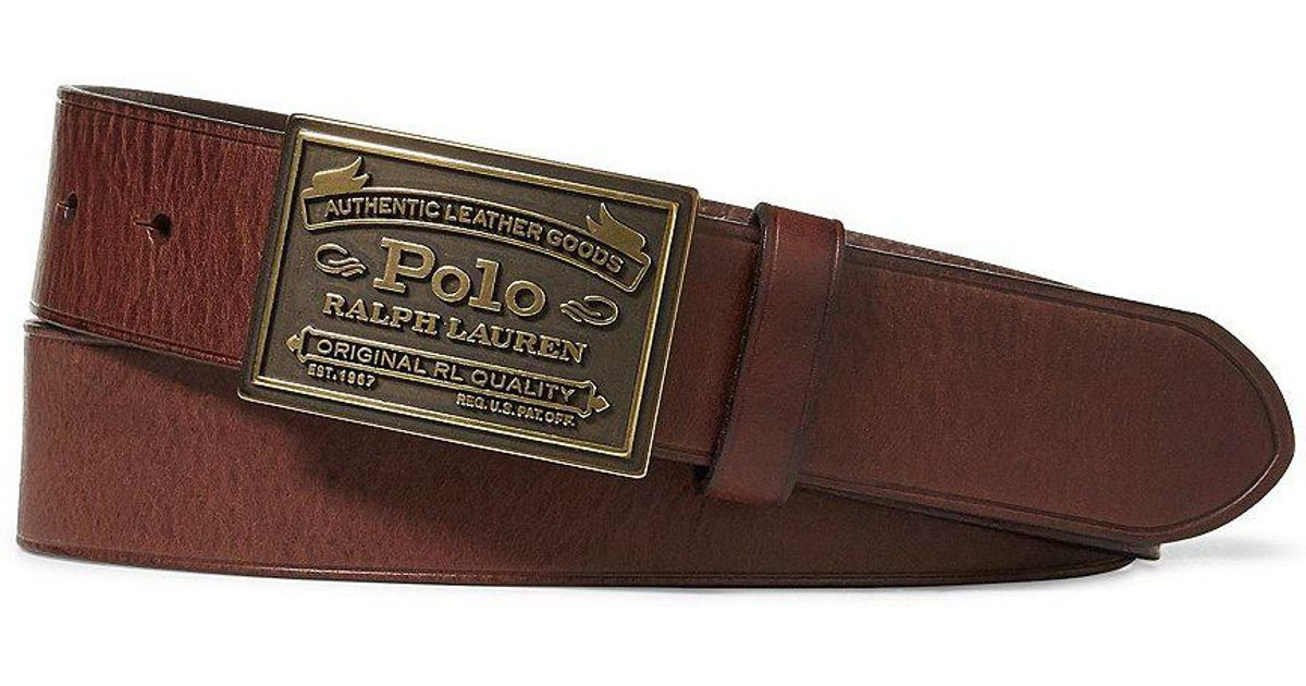 dc0dd05458 Polo Ralph Lauren Brown Metal Plaque Buckle Belt for men