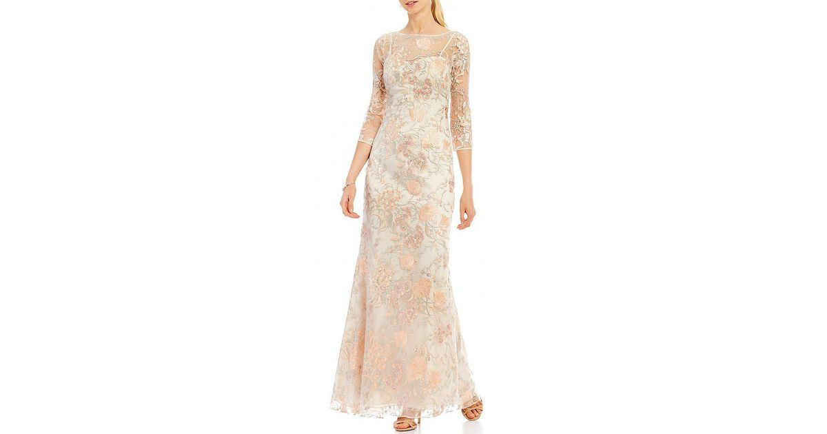 Lyst - Aidan Mattox Embroidered Lace Gown