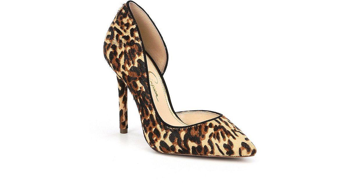 6cd94c1c408 Lyst - Jessica Simpson Lucina2 Leopard Calf Hair Pumps