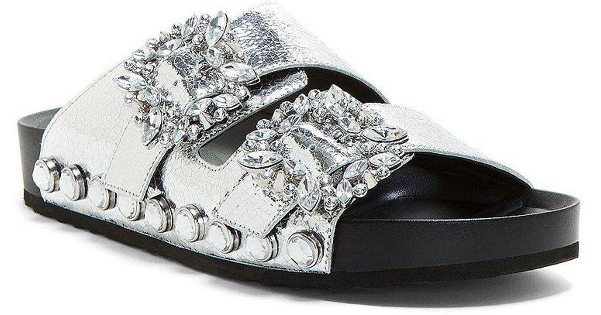 Jessica Simpson Gemelia Two Strap Jeweled Buckle Slides YobCPqx