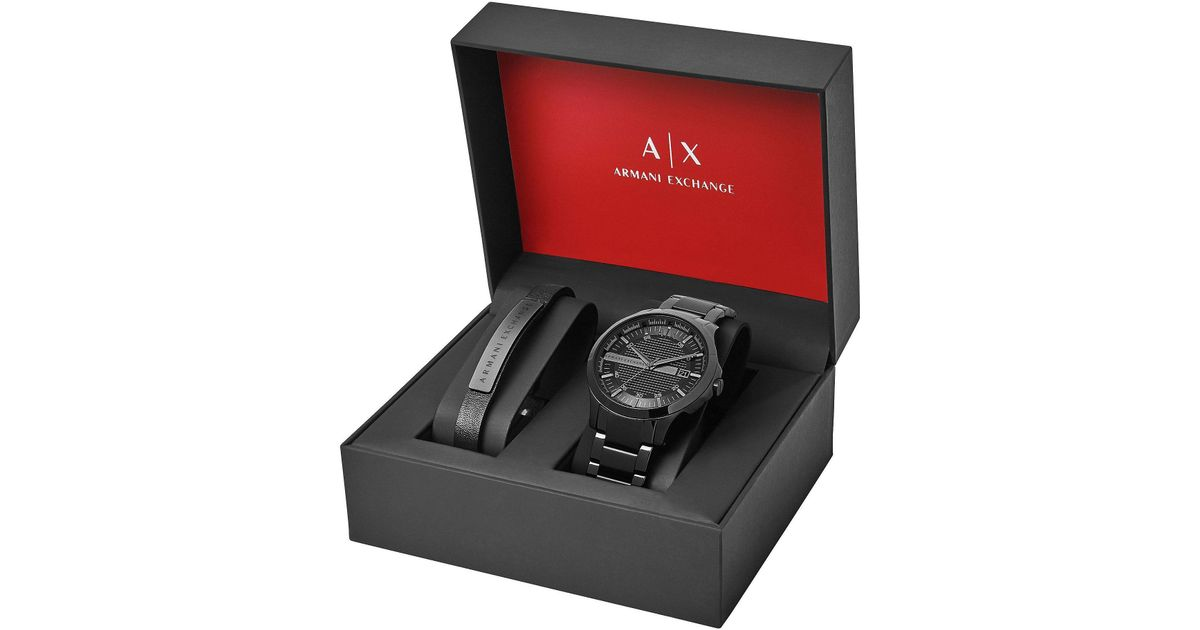 8cd3df240c6 Lyst - Armani Exchange Dress Watch Bracelet Gift Set in Black for Men