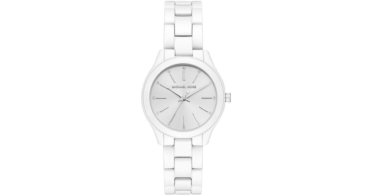 ef9cf7015 Michael Kors Women's Mini Slim Runway White Coated Stainless Steel Watch in  White - Lyst