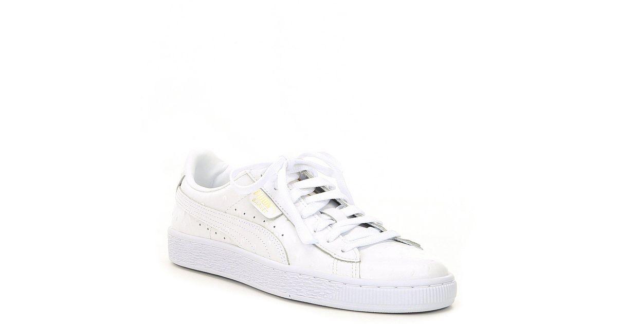 on sale 8f895 9fd44 PUMA White Women's Basket Ostrich Sneakers