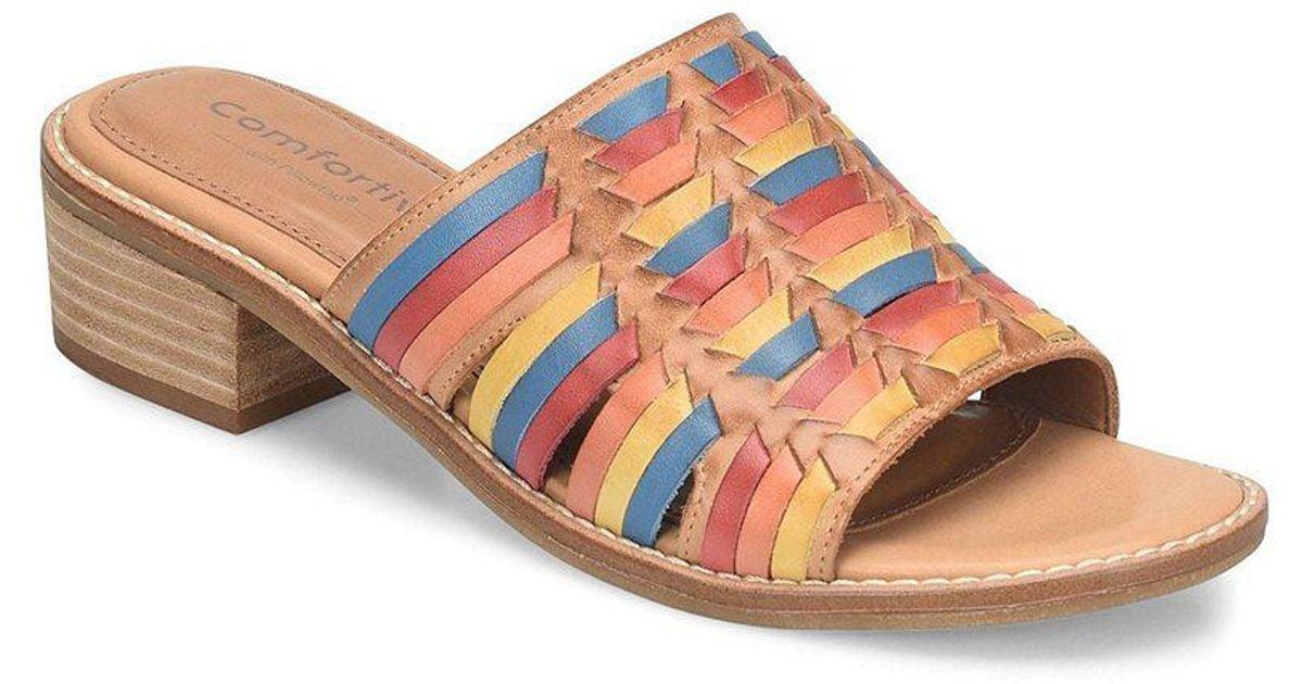 484d995d957e Lyst - Comfortiva Brileigh Huarache Block Heel Slides - Save 58%