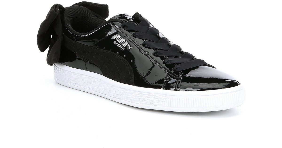 buy online b0938 31a35 PUMA Black Basket Bow Patent Leather Sb Sneakers