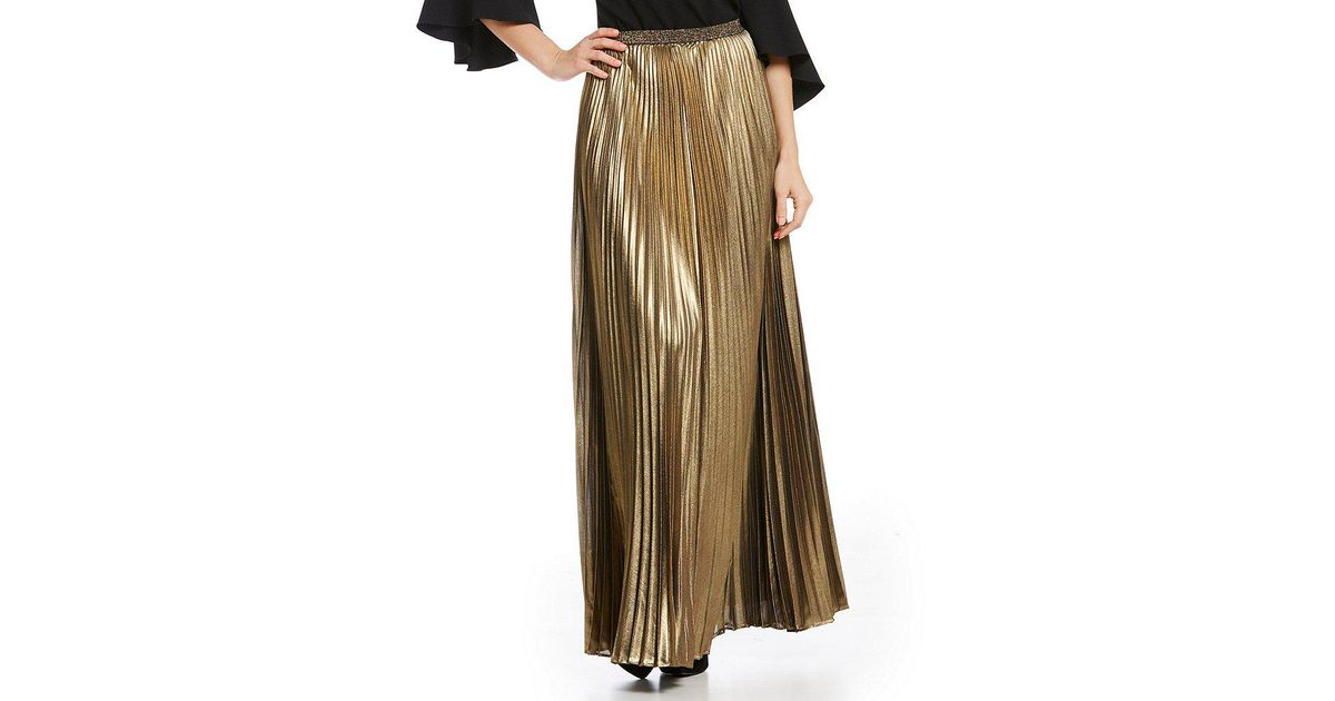 a3c7094e1a8b3 Lyst - Eliza J Metallic Pleated Maxi Skirt in Metallic