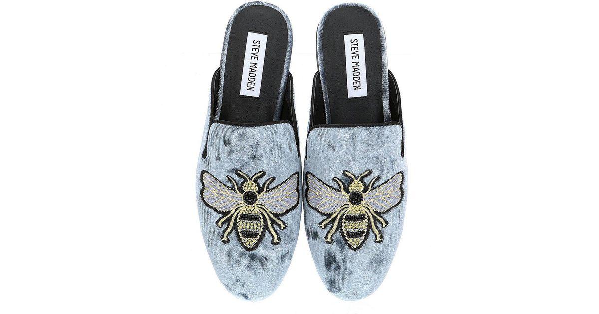 4481954d5e2 Lyst - Steve Madden Hugh Velvet Bee Embroidery Mules in Blue