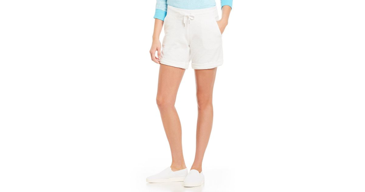 2cc95eee8aeb7 Lyst - Calvin Klein Performance Boucle Knit Drawstring Waist Cuffed Shorts  in White