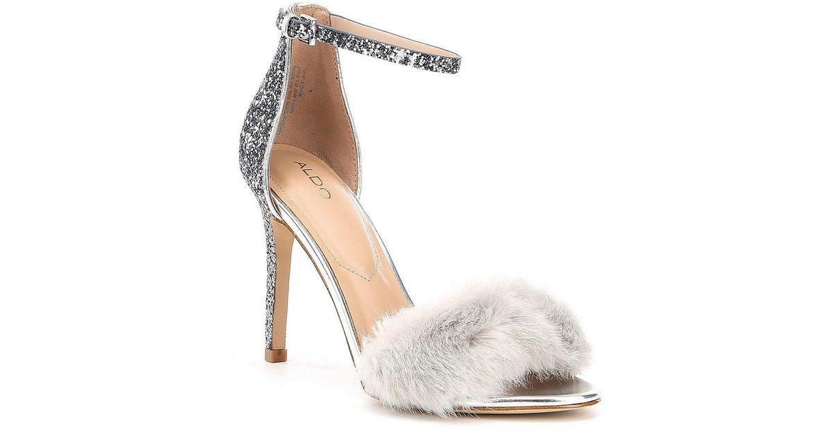 107413b8d7c Lyst - ALDO Fiolla Faux Fur Dress Sandals in Metallic