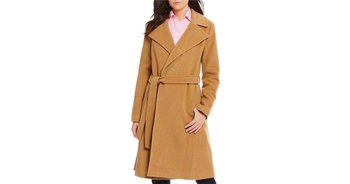 309d3a61b510c Lyst - Lauren by Ralph Lauren Wool Cashmere Blend Notch Lapel Collar Wrap  Coat