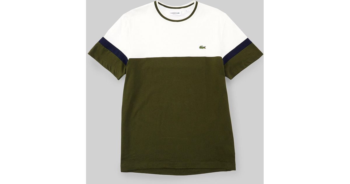 a16d186e Lyst - Lacoste Colour Block T-shirt In Green in Green for Men