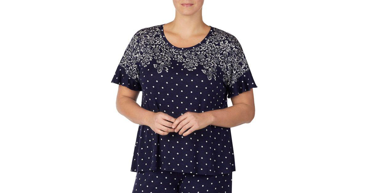 1c7565f122 Lyst - Kensie Plus Floral   Dot Print Jersey Knit Sleep Top in Blue