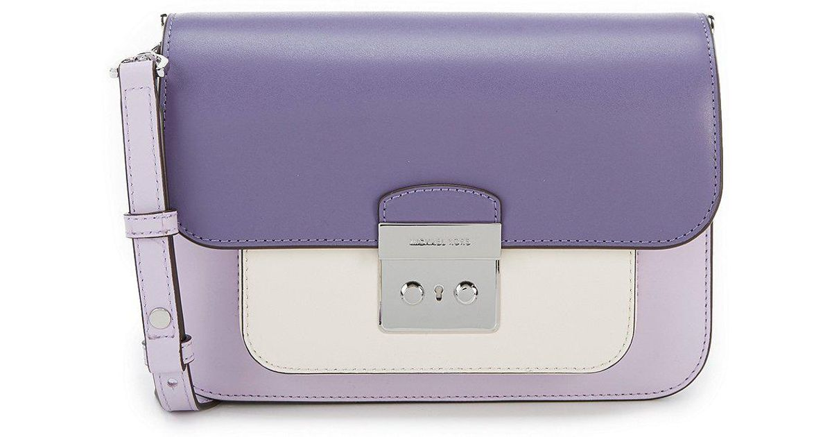 c2396f84b7f9 MICHAEL Michael Kors Sloan Editor Colorblock Shoulder Bag in Purple - Lyst