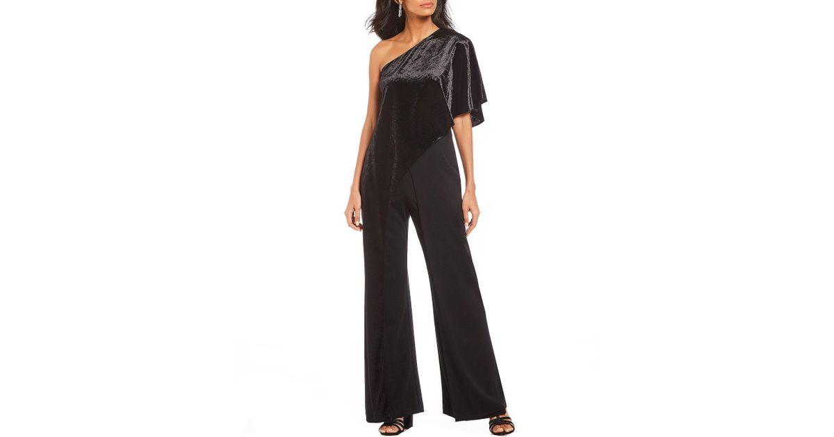 2478dcae5e Lyst - Adrianna Papell Velvet One-shoulder Jumpsuit in Black