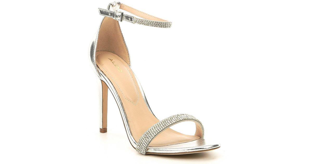 e94207082 Lyst - ALDO Aroclya Two-piece Rhinestone Dress Sandals in Metallic