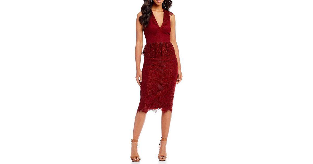 004d0a0d81e Lyst - Gianni Bini Melissa Lace Midi Dress in Red