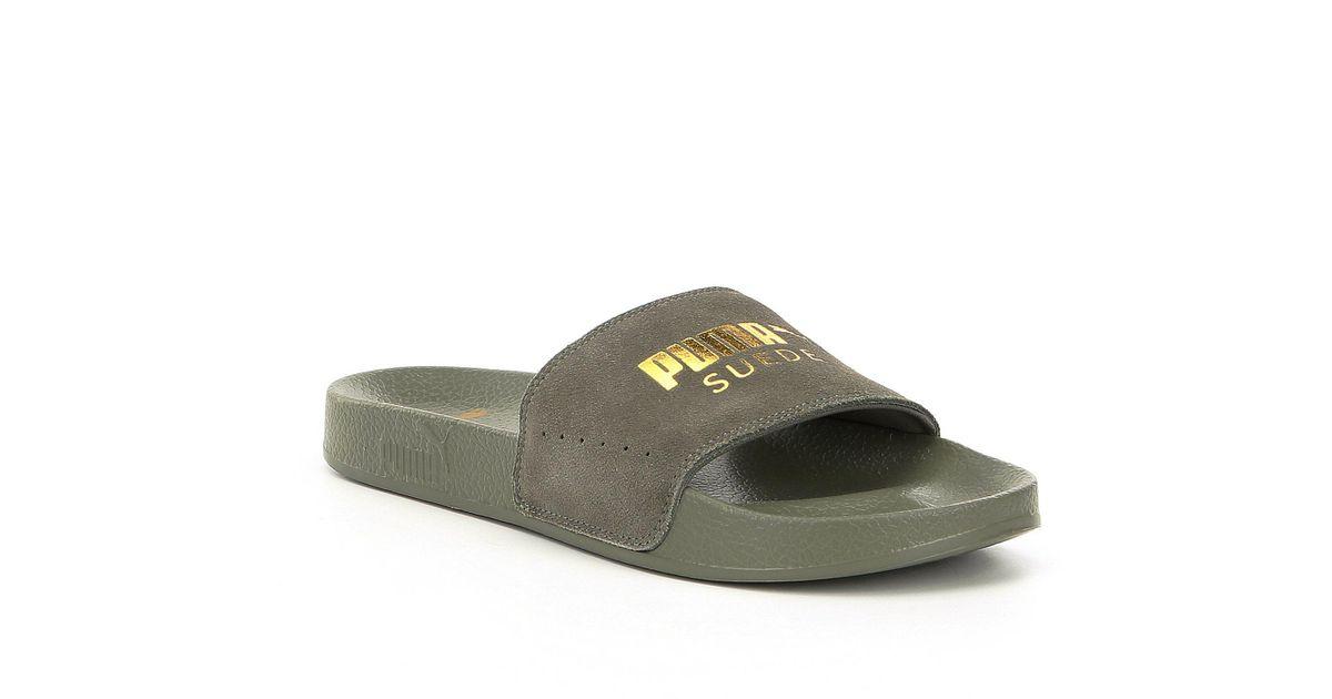 4f3735e612ed Lyst - PUMA Men s Leadcat Suede Slide-on Sandals in Gray for Men