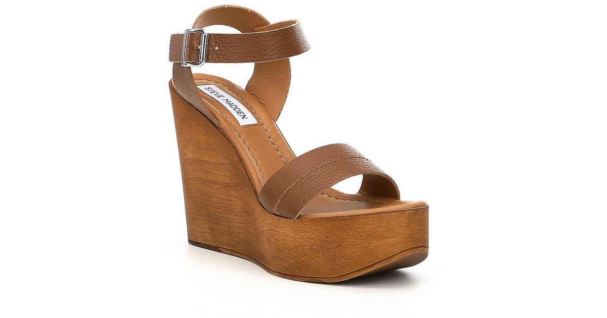 da8215ec1de Steve Madden Brown Belma Leather Wedge Sandals