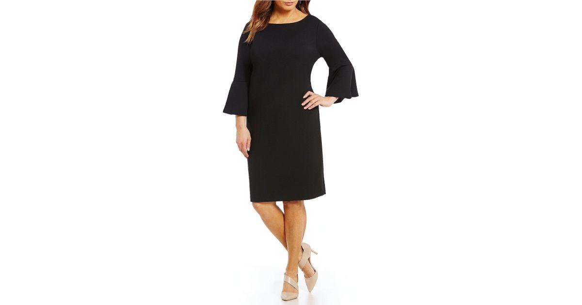 b4b6583828 Calvin Klein Plus Size Ruffle Sleeve Sheath Dress in Black - Lyst