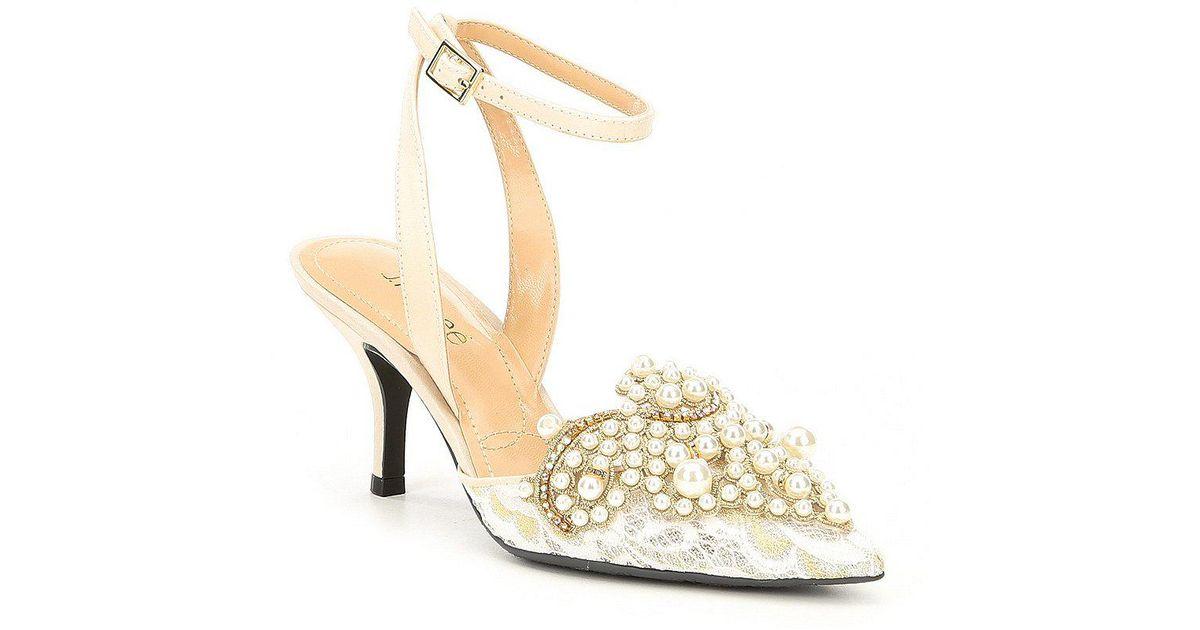 f779d18a51e J. Reneé Multicolor Desdemona Floral Mesh Pearl Ornament Ankle Strap Pumps
