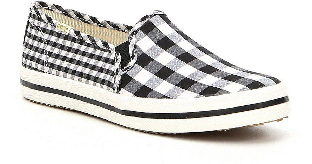 ba17700830e8 Lyst - Kate Spade Double Decker Gingham Sneakers in White