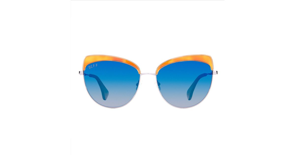 187875cb635 Lyst - DIFF Izzy Honey Tortoise Sunglasses in Blue