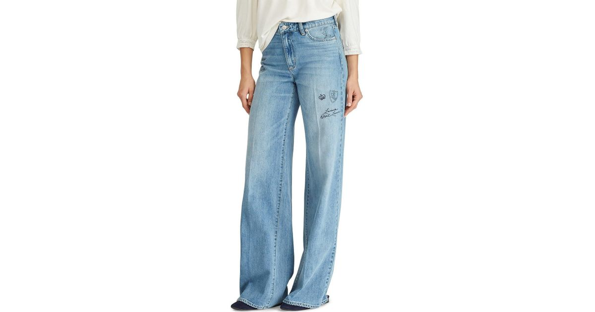 02bca886aa Lauren by Ralph Lauren Blue Patterned Wide-leg Jeans
