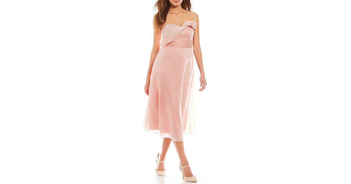 d4316f6353c Gianni Bini Layla Strapless Midi Dress in Pink - Lyst