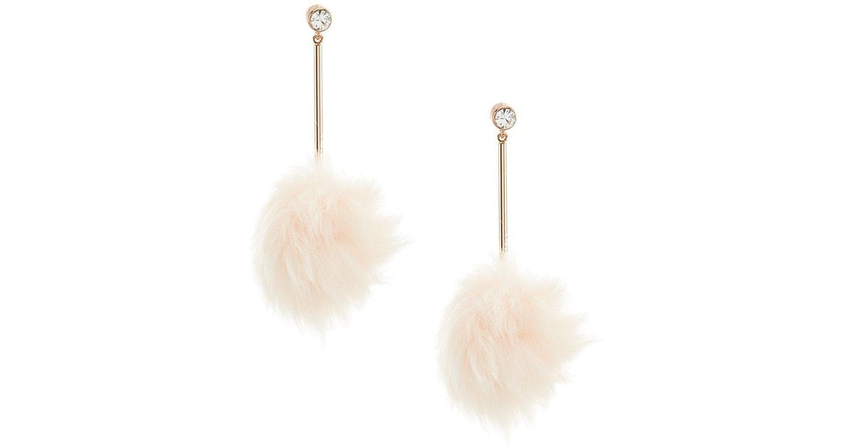 Lyst - Kate Spade Flying Colors Bow Faux-fur Pouf Earrings in Black