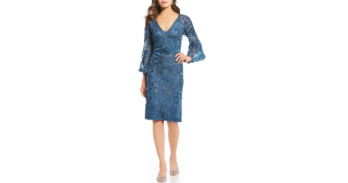 72f54cf0a1f Lyst - JS Collections Beaded Soutache Bell Sleeve Dress in Blue