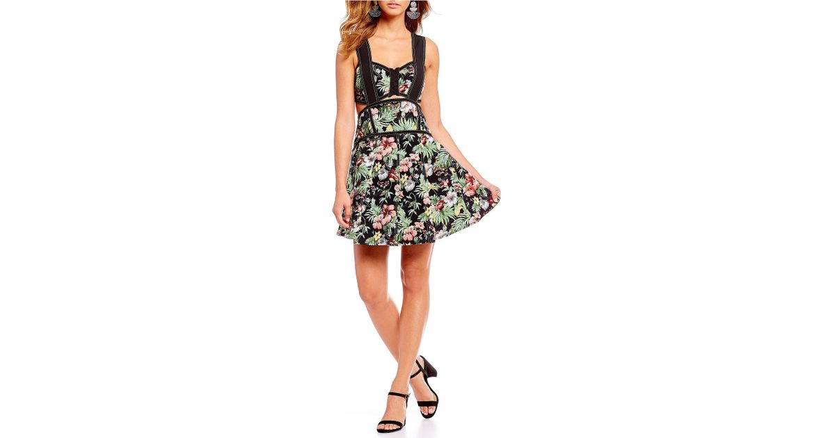 74d65ac67 Gianni Bini Alexie Tropical Floral Print Fit And Flare Contrast Stitch  Corset Dress in Black - Lyst