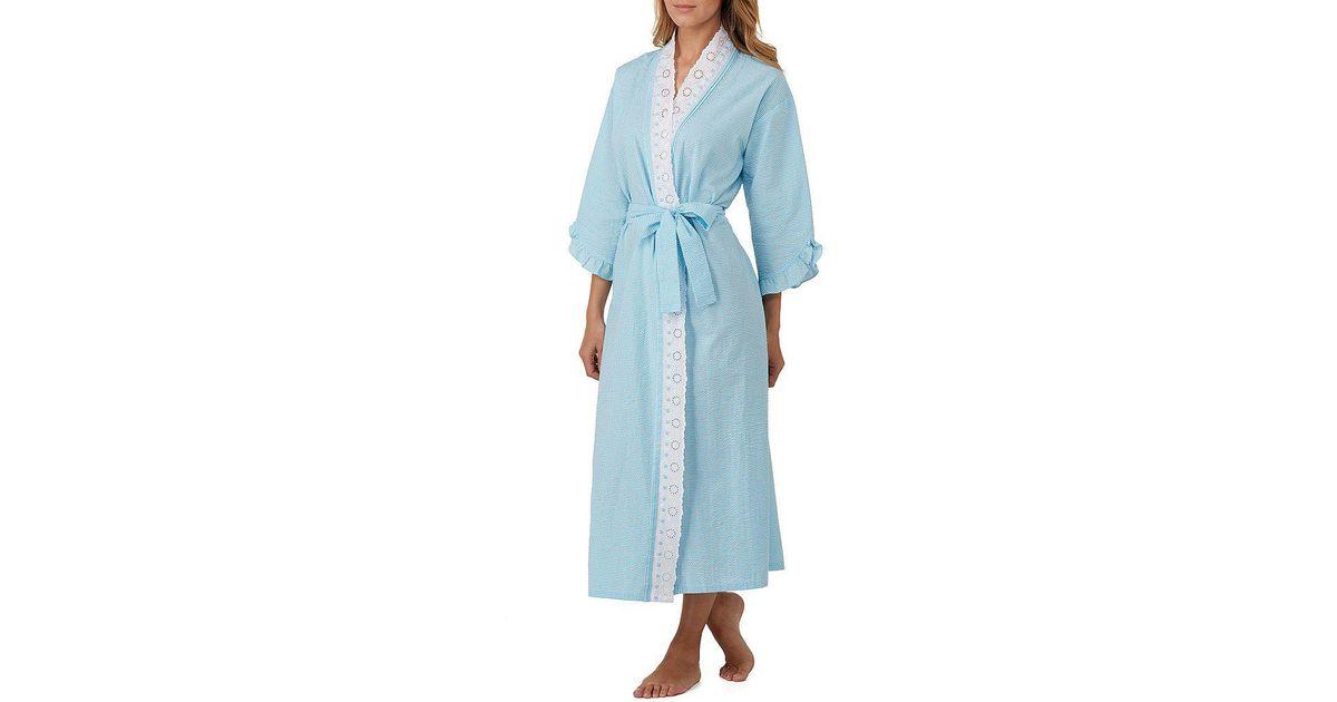 Eileen West Blue Checked-print Seersucker Ballet Wrap Robe