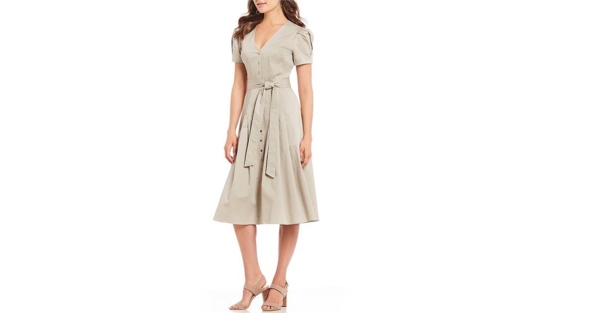 dcae92f777d Antonio Melani Lan Sateen Belted Midi Dress in Natural - Lyst