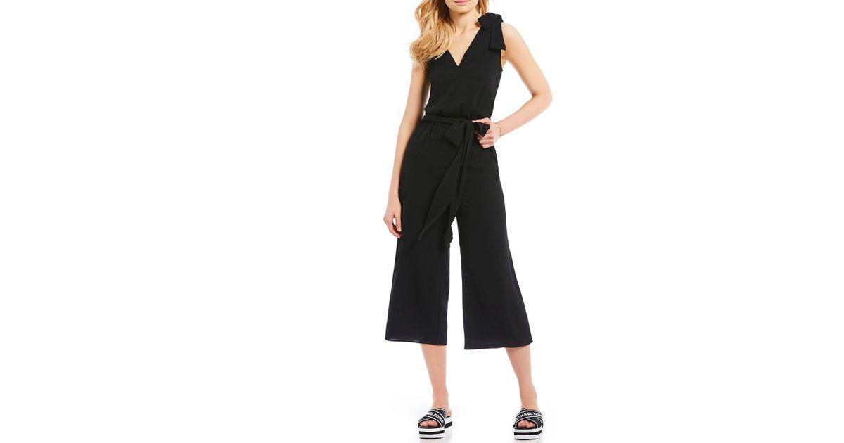 f625e1eab65 Lyst - MICHAEL Michael Kors Tie Shoulder V-neck Wide Leg Cropped Jumpsuit  in Black