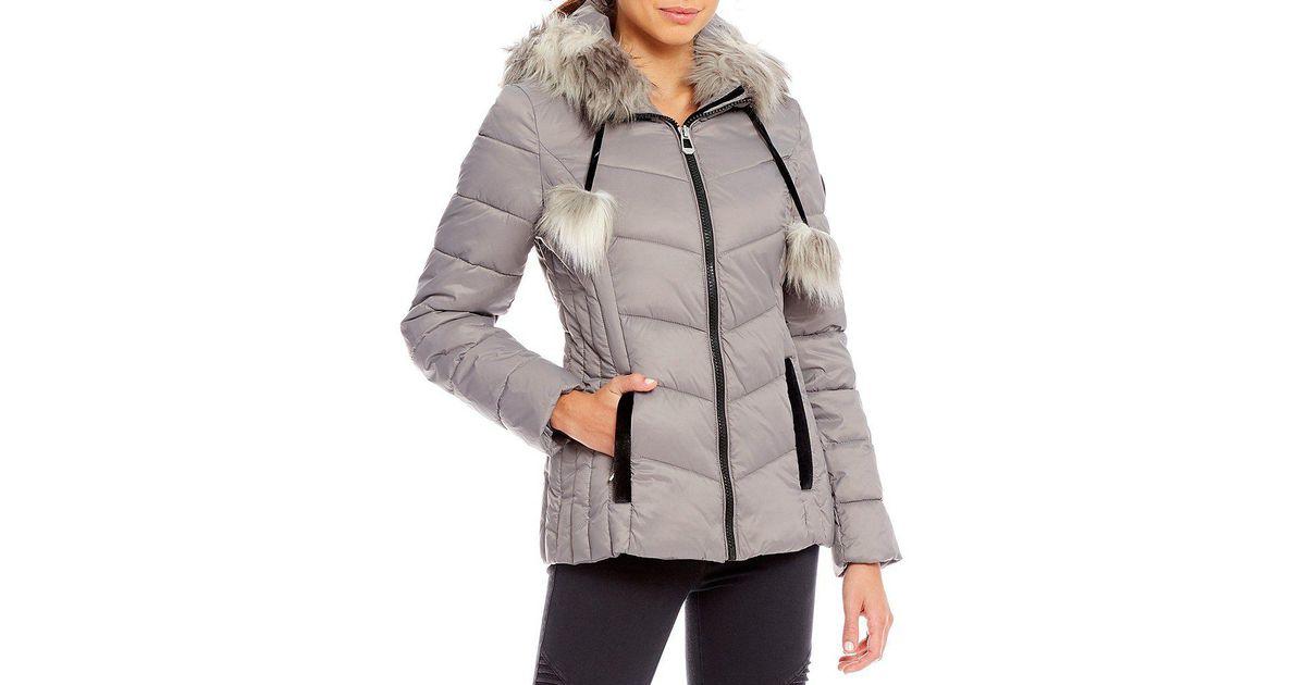 4b1550a5add3 Lyst - Gianni Bini Puffer Coat With Faux Fur Pom Pom in Gray