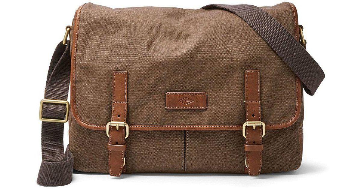 Fossil Graham Canvas Laptop Messenger Bag In Brown For Men