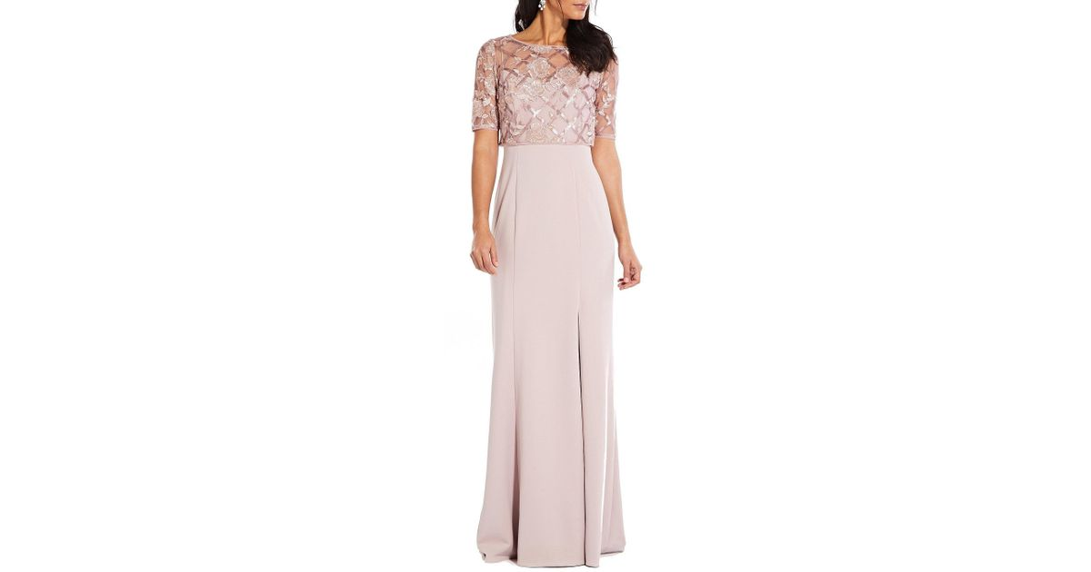 2594e791715 Lyst - Adrianna Papell Sequin Pop Over Crepe Gown in Pink