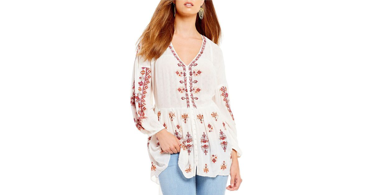 ade3bcc7cec Free People Arianna Woven Embroidered Balloon Sleeve Tunic Top in White -  Lyst