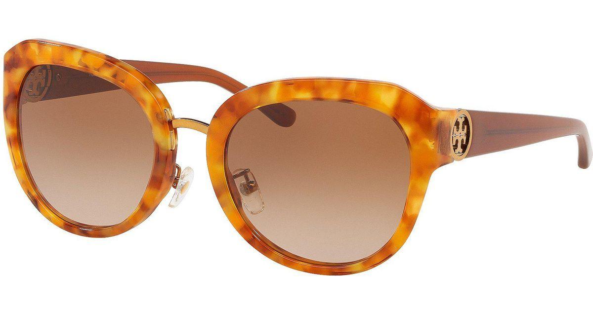 1cf5ab64fe25 Tory Burch Angular Metal Logo Sunglasses in Brown - Lyst